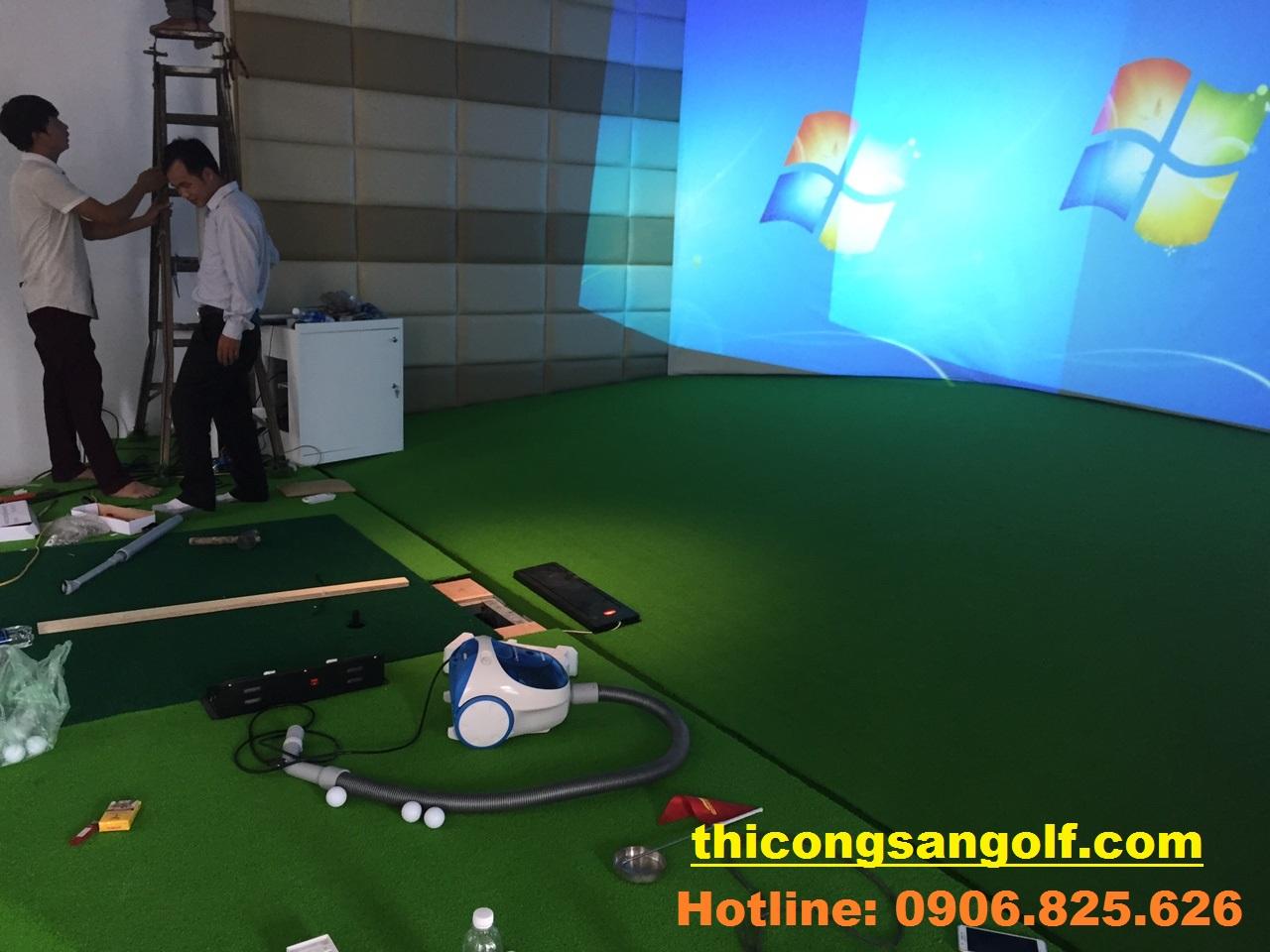 quy trình thi công phòng tập Golf 3D.
